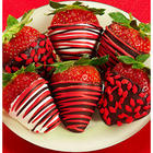 Red Drizzled Dark Chocolate Strawberries