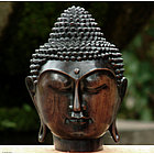Buddha's Head Wood Sculpture