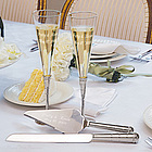 Personalized Trumpet Wedding Toasting Flutes and Serving Set