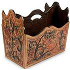 Sweet Contrasts Leather and Mahogany Magazine Rack