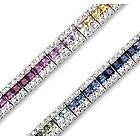 14K White Gold Rainbow Gem 1.25Ct Diamond Tennis Bracelet