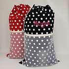 Personalized White Polka Dot Laundry Bag