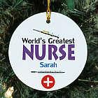 World's Greatest Nurse Personalized Ceramic Ornament