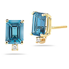 London Blue Topaz and Diamond Stud Earrings in 14K Gold