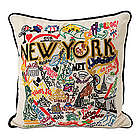 Hand Embroidered City Pillow