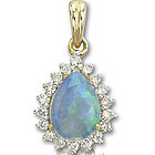 14k Yellow Gold Pear Shaped Opal and Diamond Pendant