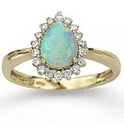 14k Yellow Gold Pear Shaped Opal and Diamond Ring
