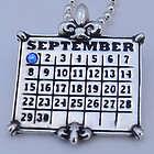 Personalized Calendar Fleur de Lis Sterling Pendant