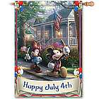 Thomas Kinkade Happy July 4th Flag with Mickey and Minnie