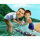 Seaside Explorers Caricature from Photos