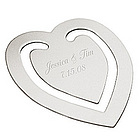 Engraved Wedding Heart Bookmark