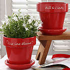 Personalized Hearts Grow with Love Red Flower Pot
