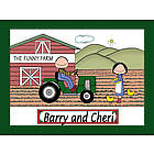 Personalized Farmers and Tractor Cartoon Print
