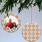 Dad's Argyle Personalized Photo Christmas Ornament