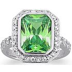 Sterling Silver Emerald Cut Birthstone Cocktail Ring