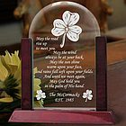 Personalized Irish Blessing Glass Arch Keepsake with Wooden Base