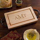 Engraved Monogram Maple Cutting Board with Serving Handles