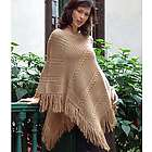 Double Beige Braids Alpaca Wool Blend Poncho