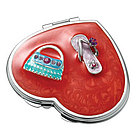 Personalized Red Heart Shaped Compact Mirror