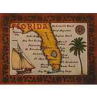 Florida Handmade Leather Map in Color with Rods