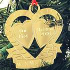 Personalized Gold Double Heart Christmas Ornament