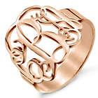 Personalized Fancy Script Monogram Rose Gold Ring