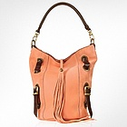 Front Tassel Salmon Pink Suede and Leather Hobo Bag