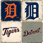 Detroit Tigers Italian Marble Coasters with Wrought Iron Holder