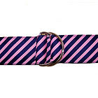 Pink and Navy Diagonal Stripe Ribbon Belt