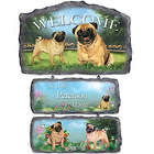 Pug Art Personalized Faux Stone Welcome Sign