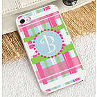 Preppy Plaid iPhone Case with White Trim