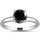 1 Carat Black Diamond Engagement Ring in 14K Gold