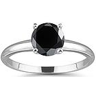 1 Carat Black Diamond Engagement Ring in 14K Gold