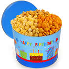 2 Gallons of Popcorn in Happy Birthday Tin