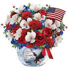 America the Beautiful Lighted Floral and Crystal Centerpiece