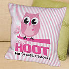 Give a Hoot Breast Cancer Throw Pillow