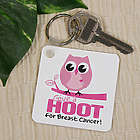 Give a Hoot Breast Cancer Awareness Key Chain