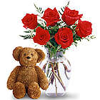 Luv You Roses and Teddy Bear