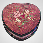Italian Inlaid Red Heart Music Jewelry Box