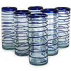 Cobalt Spiral Highball Glasses