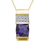 Checkercut Amethyst & Diamond Slide Pendant Necklace