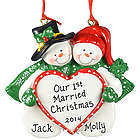 Our 1st Married Christmas Ornament Snow Couple with Big Heart