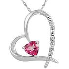 Pink Topaz Heart and Diamond Pendant in 14K White Gold