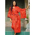 Red Floral Kimono Batik Robe