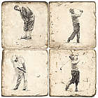 Golf Greats Marble Coaster Set