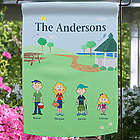 Spring Family Characters Personalized Garden Flag