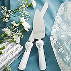 Cross and Heart Design Cake Knife and Server Set