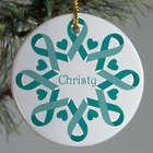 Teal Ribbon Snowflake Ornament