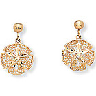 10k Gold Sand Dollar Earrings