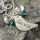 Momma's Nest Hand Stamped Bird Necklace